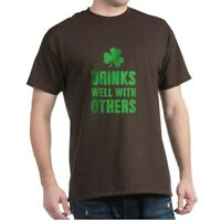 CafePress Drinks Well With Others T Shirt 100% Cotton T-Shirt (1249065671)