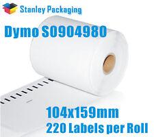 2 Rolls Dymo S0904980 / SD0904980 4XL LabelWriter 104x159mm 220Labels / roll