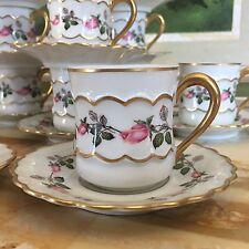 12 Demitasse Cups Saucers Crown Berry Compagnie Nationale de Porcelaine Limoges
