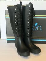 New $119 Rubber Rain Boots Womens Ribbon Lemon Collection Size 6