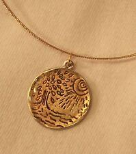 "FUN! Textured ""Liquid Strand"" Goldtn Amber Tree Free Spirit Pendant Necklace +++"