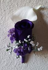Purple Rose Real Touch Calla Lily Boutonniere