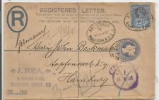 1901  2d REGISTERED LETTER SENT TO GERMANY UPRATED 2.5d JUBILEE SEE SCANS