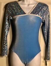 Was $72.95 Nwt! Gk Elite LgS Blue Foil Velvet Gymnastics Dance Leotard Adult S