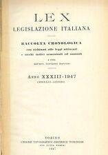 LEX - LEGISLAZIONE ITALIANA - 1947 - GENNAIO-GIUGNO