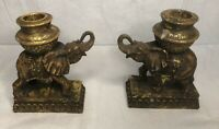 MATCHING SET OF 2 VINTAGE ELEPHANT CANDLE HOLDERS CANDLESTICK DETAILED PATINA