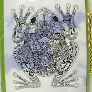 """SUE COCCIA Frog Spirit Animal Intricate Detailed 4"""" Unmounted Rubber Stamp"""