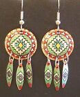 Hand Made Copper and Color Southwest Design Round with Feathers Dangle Earrings