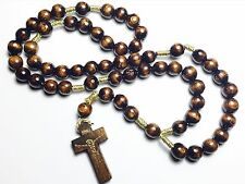 BROWN COLOR wooden ROSARY cord blessed by Pope Francis, special gift 4 seniors