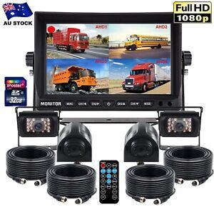 """9"""" Split Screen Quad DVR Monitor+32GB+4x 4PIN CCD Color Camera For Truck Trailer"""