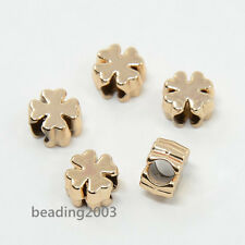 10 abalorios metálicos metal flores 6mm flor plata perlas 314