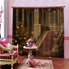55x40'' Christmas Curtains 2 Panels Vintage Xmas Castle Kitchen Window Drapes