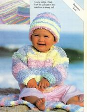 "#209 BABY CHUNKY SWEATER, BLANKET & HATS 16-26""  BEGINNERS KNITTING PATTERN"