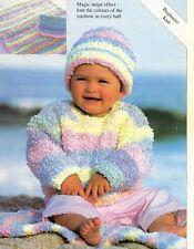 "#209 baby chunky sweater, couverture & chapeaux 16-26"" débutants knitting pattern"