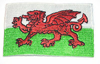 2x WALES WELSH CYMRU FLAGS SM 6x4cm  Embroidered Iron Sew On Cloth Patch Badge