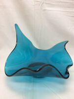 Blue Art Glass Candy Dish Large Hand Made Vintage