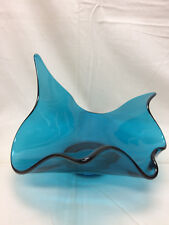 "Vintage Blue Art Glass Candy Dish Large Hand Made 8 1/2"" X 6 1/2"" X 8"""
