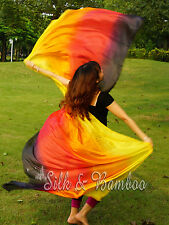 "1pc 2.7m*1.1m (9'x45"") 4-color 5 mommes belly dance silk veil, rolled edges+bag"