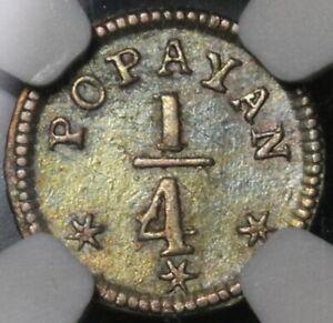 1849 NGC XF 45 Colombia 1/4 Real Popayan Nueva Granada Silver Coin (21081902D)