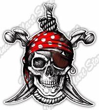 "Pirate Skull Crossbones Jolly Roger Rope Car Bumper Vinyl Sticker Decal 4""X5"""