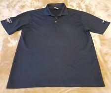 Nike DriFit Federal Saving Bank mens golf polo shirt MEDIUM black 100% polyester