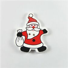40pcs Multi-Colors Wood Christmas Santa Claus Button Charms Findings Craft 52343