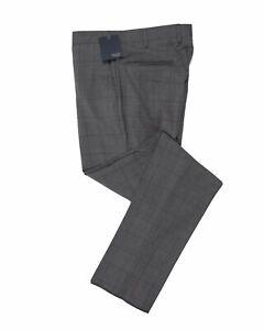INCOTEX Superfine Wool Gray Windowpane Dress Pants ~ European Fit