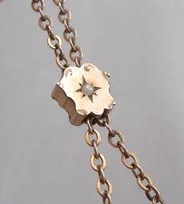 Antique Victorian Ladies Watch Chain Faux Pearl Slide Lorgnette Necklace Gf/Rgp