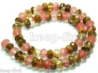 "Natural Multicolor 5X8mm Faceted Watermelon Tourmaline Gems loose Beads 15""AAA++"