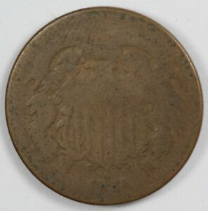 1865 Two Cent Early US Type Coin 2C
