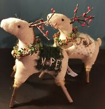 """New Listing2: Primitive Reindeer Christmas Ornaments Hope & Joy 8.5""""H x 8""""L Free Shipping"""
