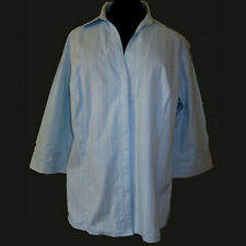 Plus Sz 2X Riders Instantly Slims You Blue Pin Stripe Elbow Sleeve Fitted Shirt