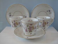 Antike drei Kaffeetassen Blumen Jugendstil 1900 Porzellan Shabby Historismus