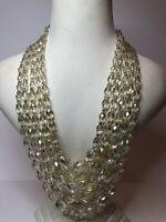 Vintage 5 Strand Necklace Glass 1950s Style Pale Citrine Colour Aurora Borealis