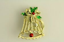 VINTAGE FAB XMAS HOLIDAY CHRISTMAS BROOCH BELL GOLD TONE COLORFUL ENAMEL J6987
