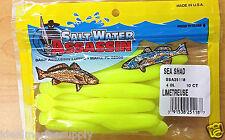 "SaltWater Assassin 4"" Plastic Fishing Lure Sea Shad Limetruese Soft Bait. New.."