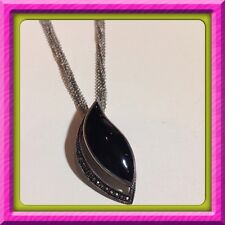 """Sterling Silver 925 Onyx Marcasite Pendant 17"""" Long Necklace 5 Chains"""