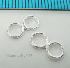 8x STERLING SILVER CLOSED DOUBLE JUMP RING SPACER SEPARATOR BEAD 4.9mm 1mm #2042