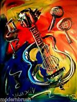 GUITAR  ORIGINAL OIL ABSTRACT PAINTING CONTEMPORARY Crth456u