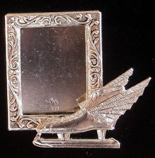 Speed Skater Ice Skates Photo Frame Pin Silver Plate & Sterling Silver Plate