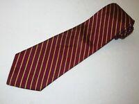 New Brooks Brothers Tie Maroon Gold Stripe Designer Necktie Mens Woven Jacquard