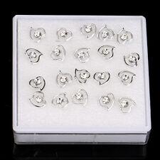 10Pairs/Lot Silver Rhinestone Crystal Heart Ear Stud Earrings Women Girls Gifts