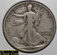 1917 Silver Walking Liberty Half Dollar 50c Fine Details 90% Silver