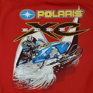 Vintage 90's Pure Polaris Edge XC Snowmobile Graphic Sweatshirt Red Men's L