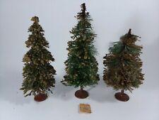 "3 Vintage Bottle Brush Evergreen Trees Metal Base German Germany 5 1/4"" - 6 3/4"""