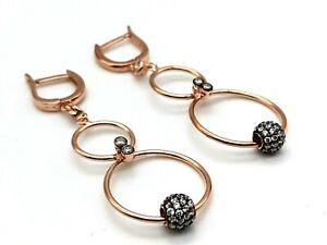 Women's Rose Gold 925 Sterling Silver Topaz Earrings HANDMADE