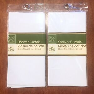 2 Shower Curtains Solid White Home Collection Polyethylene Lightweight 70x72