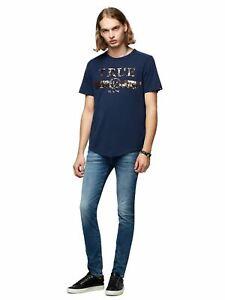 TRUE RELIGION Men's Navy Blue Crew Single Endquin Logo T shirt S RRP œ65 BNWT