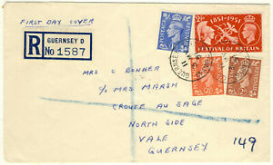 1951 Guernsey FDC with 4 stamps, very rare and seldom offered