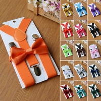 New Suspender + Bow Tie Matching Colors Sets For Boys Girls Kids Child Toddlers